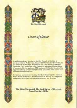 Citizen Of Honour Certificate