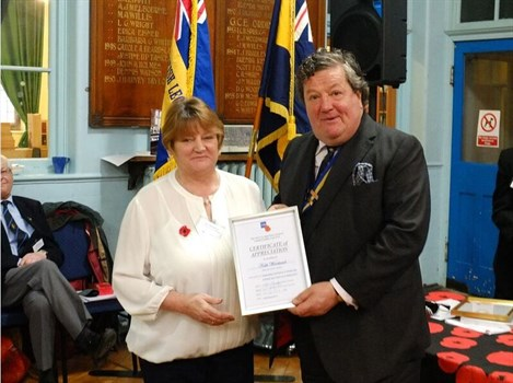 Kath Woodward Belper Branch Chair County Cert Of Appreciation